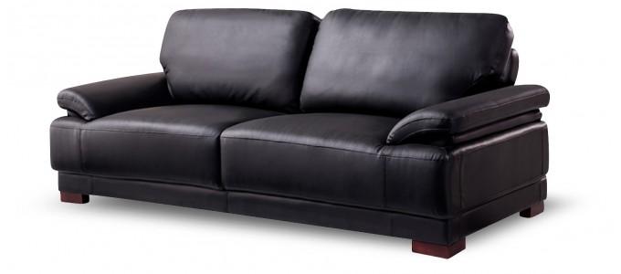Canapé convertible 3 places en cuir noir - Glam
