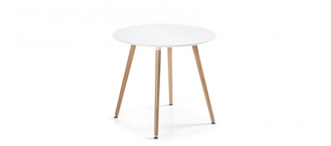 Table à manger ronde design blanche 80cm - Alta