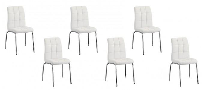 Lot de 6 chaises salle à manger blanches - Nursia