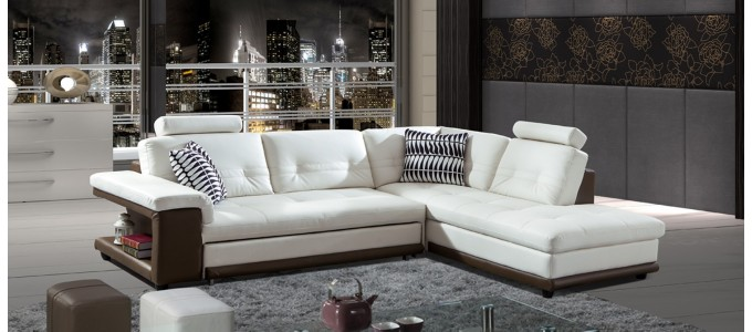 Canapé d'angle droit convertible en cuir blanc et taupe - Lumia