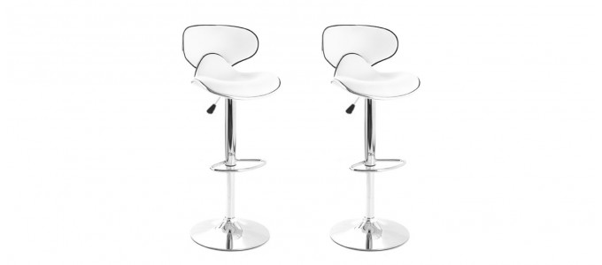 Lot de 2 tabourets de bar design blanc - Volta
