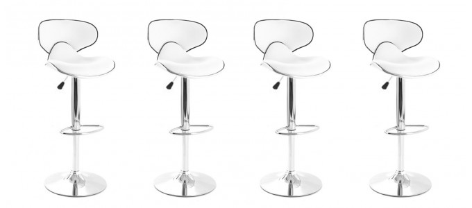 Lot de 4 tabourets de bar design blanc - Volta