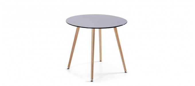 Table à manger ronde design noire 80cm - Alta