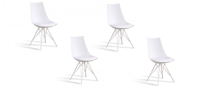 Lot de 4 chaises design blanches - Eiffel