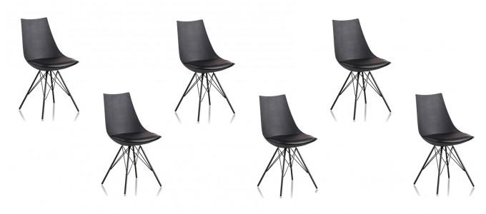 Lot de 6 chaises discount noires - Eiffel