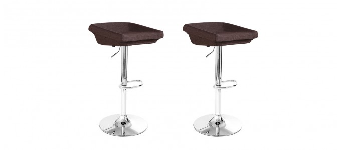 Lot de 2 tabourets de bar en tissu marron - Udine