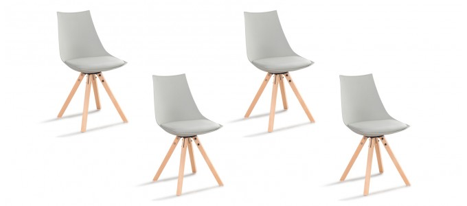 Lot de 4 chaises scandinave grises - Minsk