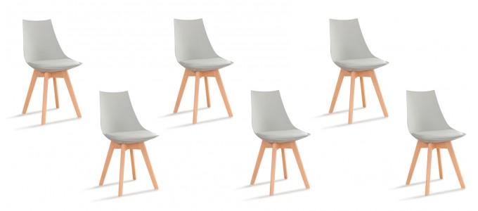 lot de 6 chaises scandinaves grises prague designetsamaison. Black Bedroom Furniture Sets. Home Design Ideas