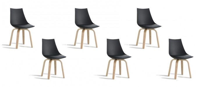 Lot de 6 chaises scandinaves noires - Nicosie
