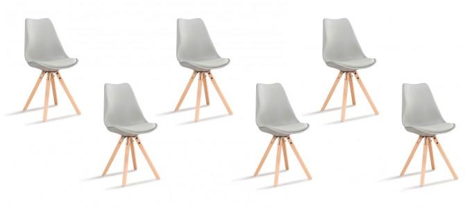 Lot de 6 chaises scandinaves grises - Helsinki