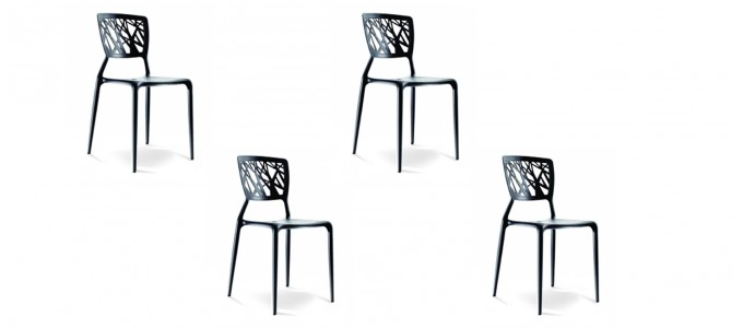 Lot de 4 chaises design noires- Verdi
