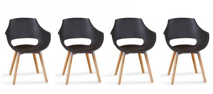 Lot 4 fauteuils scandinaves noirs - Treia