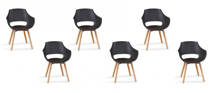 Lot 6 fauteuils scandinaves noirs - Treia