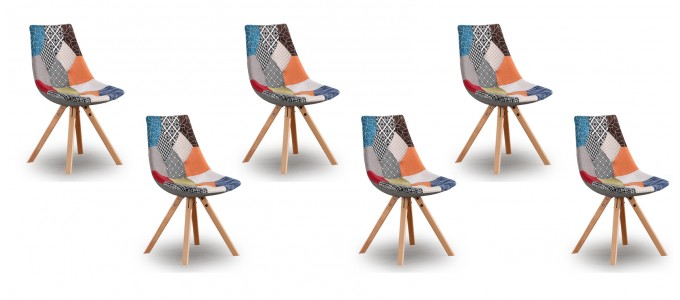 Lot de 6 chaises patchwork - Minsk