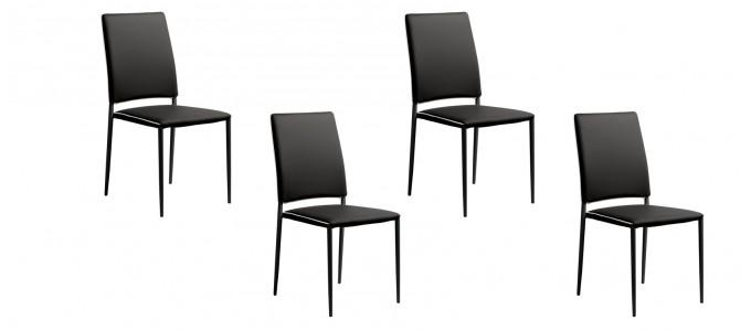 Lot de 4 chaises de salle à manger noires - Tudelia