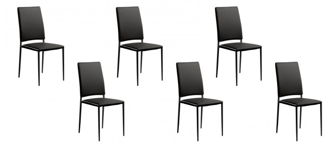 Lot de 6 chaises de salle à manger noires - Tudelia