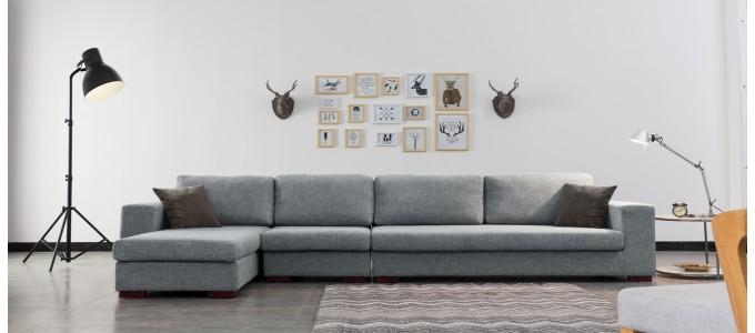 Ensemble canapé d'angle gauche et fauteuil en tissu gris - Opéra