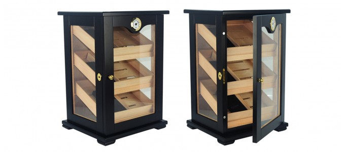 Armoire à cigares vitrée noire - 150 cigares