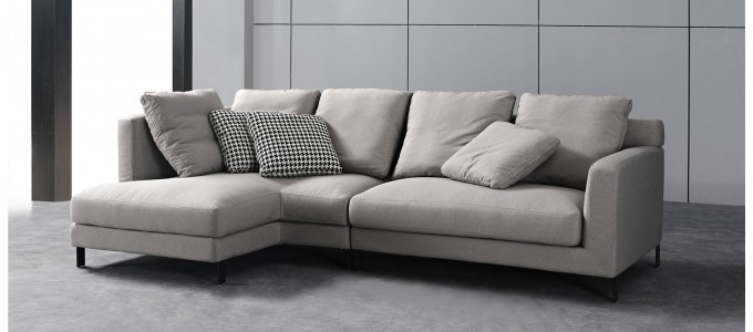 Canapé d'angle 5 places en tissu gris - Columbia