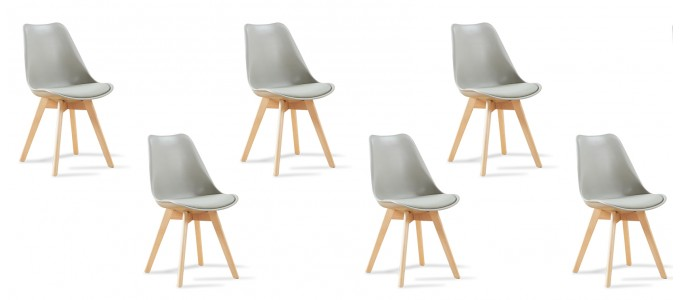 Lot de 6 chaises scandinaves grises - Bjorn