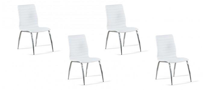 Lot de 4 chaises salle à manger blanches - Londres