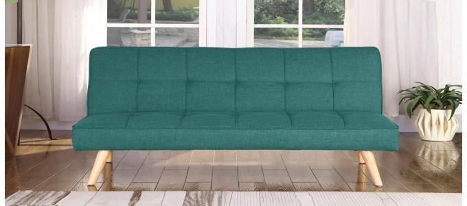 Banquette clic clac 3 places en tissu vert - Siljan