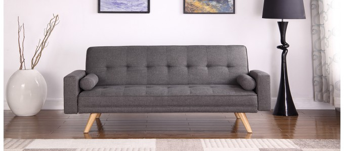 Canapé Clic Clac 3 places en tissu gris - Vienne