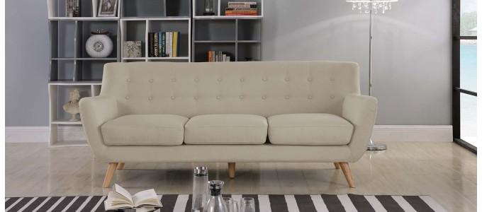 Canapé 3 places scandinave en tissu taupe - Nils