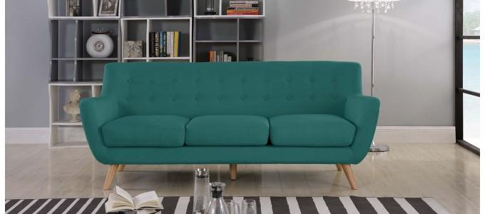 Canapé 3 places scandinave en tissu vert - Nils