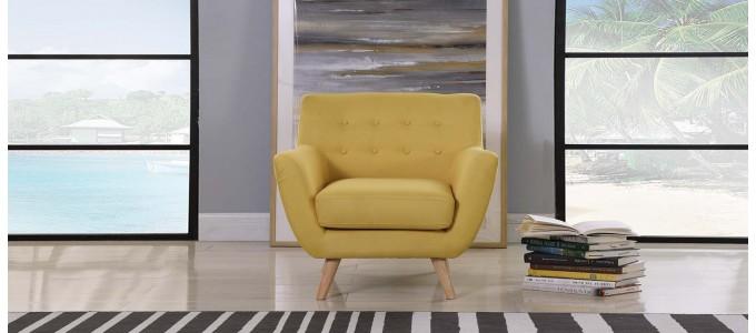 Fauteuil scandinave en tissu jaune moutarde - Nils