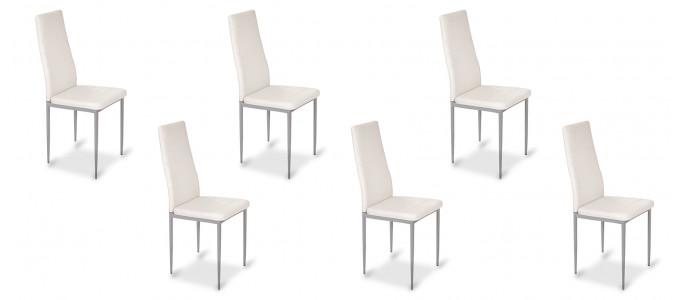 Lot de 6 chaises salle à manger blanches - Lena