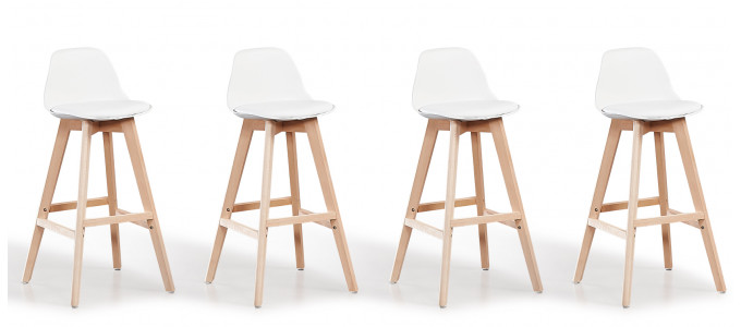 Lot de 4 tabourets de bar scandinaves blancs - Eski