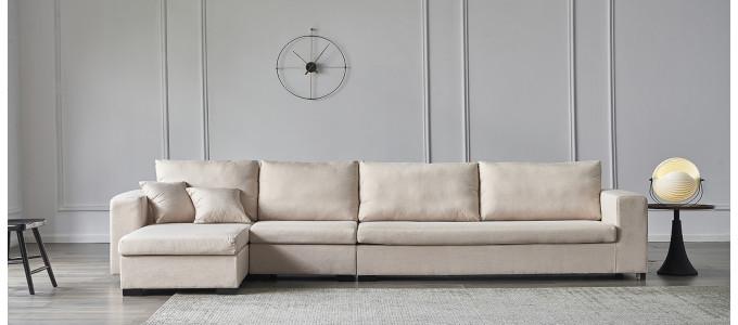 Ensemble canapé d'angle gauche et fauteuil en tissu beige - Opéra