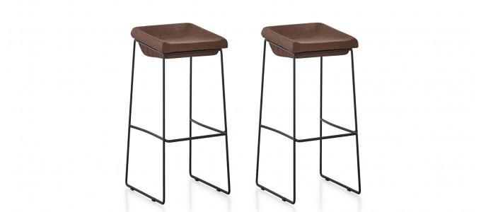 Lot de 2 chaises hautes en tissu marron - Udinese