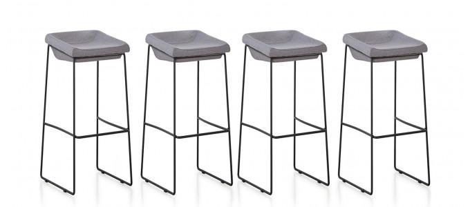Lot de 4 chaises hautes en tissu grises - Udinese